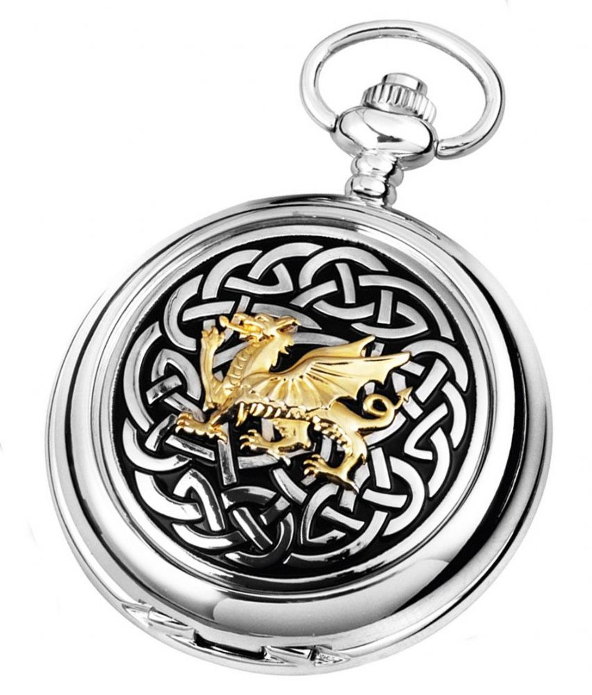 Ladies Celtic Knot Welsh Dragon Quartz Pocket Pendant Handbag Watch